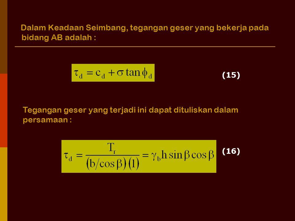 Tegangan geser yang terjadi ini dapat dituliskan dalam persamaan :