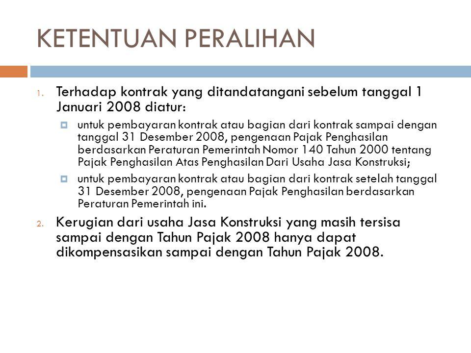 KETENTUAN PERALIHAN Terhadap kontrak yang ditandatangani sebelum tanggal 1 Januari 2008 diatur: