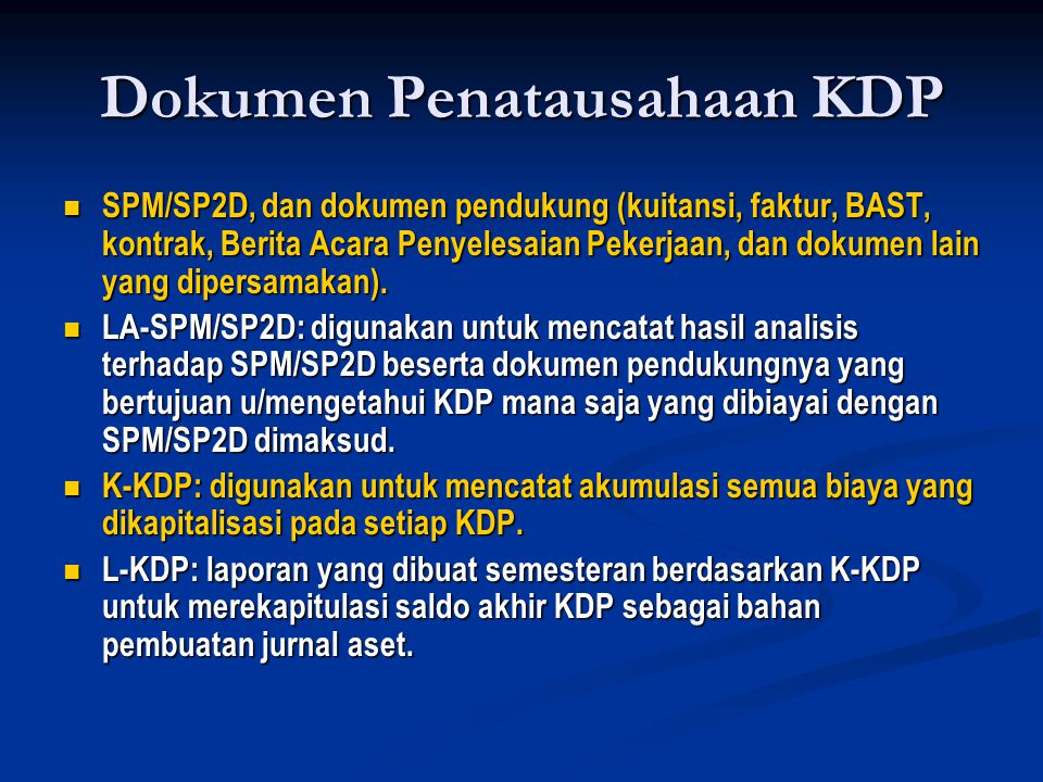 Dokumen Penatausahaan KDP