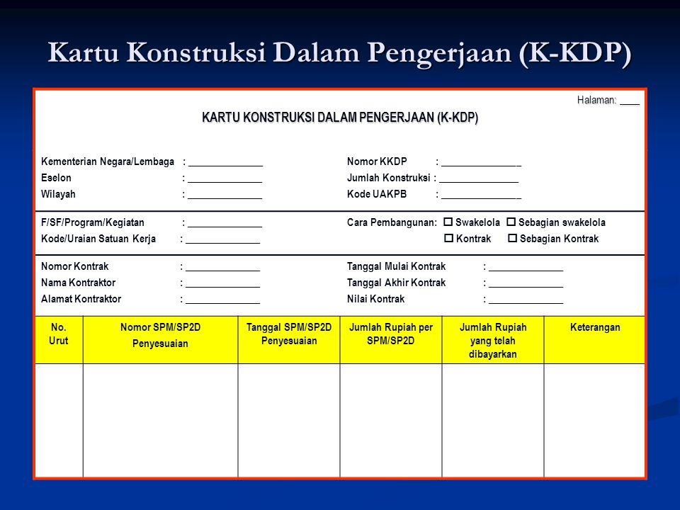 Kartu Konstruksi Dalam Pengerjaan (K-KDP)