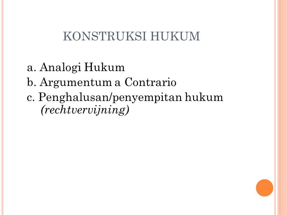 KONSTRUKSI HUKUM a. Analogi Hukum b. Argumentum a Contrario c.
