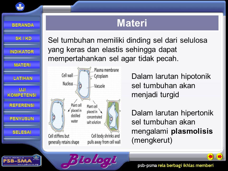 Materi Sel tumbuhan memiliki dinding sel dari selulosa yang keras dan elastis sehingga dapat mempertahankan sel agar tidak pecah.