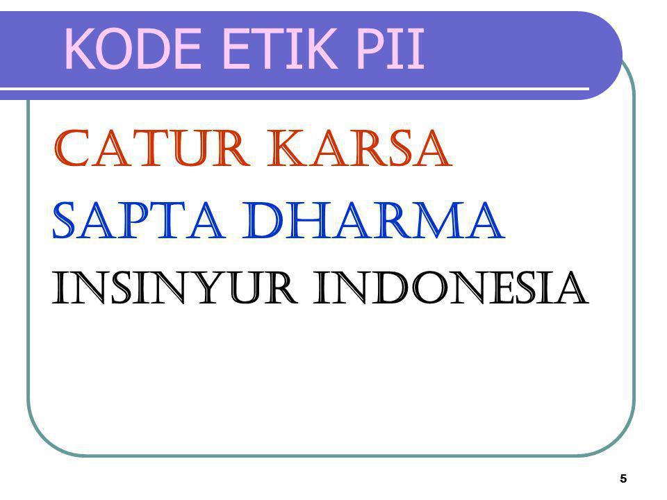 KODE ETIK PII CATUR KARSA SAPTA DHARMA INSINYUR INDONESIA