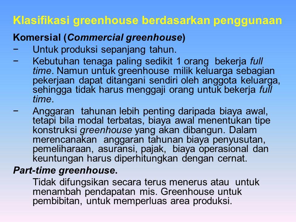 Klasifikasi greenhouse berdasarkan penggunaan