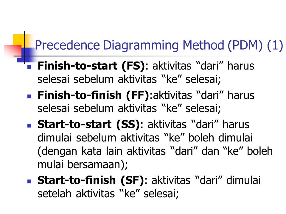 Precedence Diagramming Method (PDM) (1)