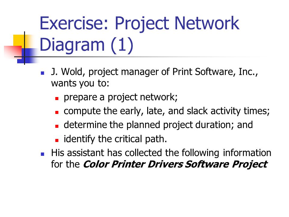 Exercise: Project Network Diagram (1)