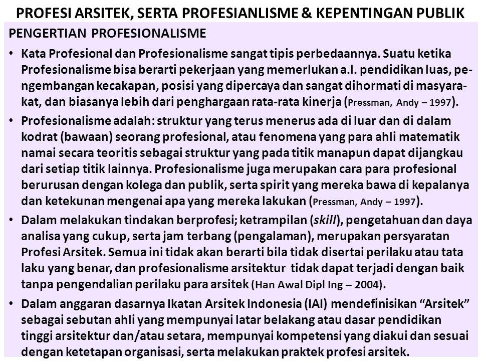 PROFESI ARSITEK, SERTA PROFESIANLISME & KEPENTINGAN PUBLIK