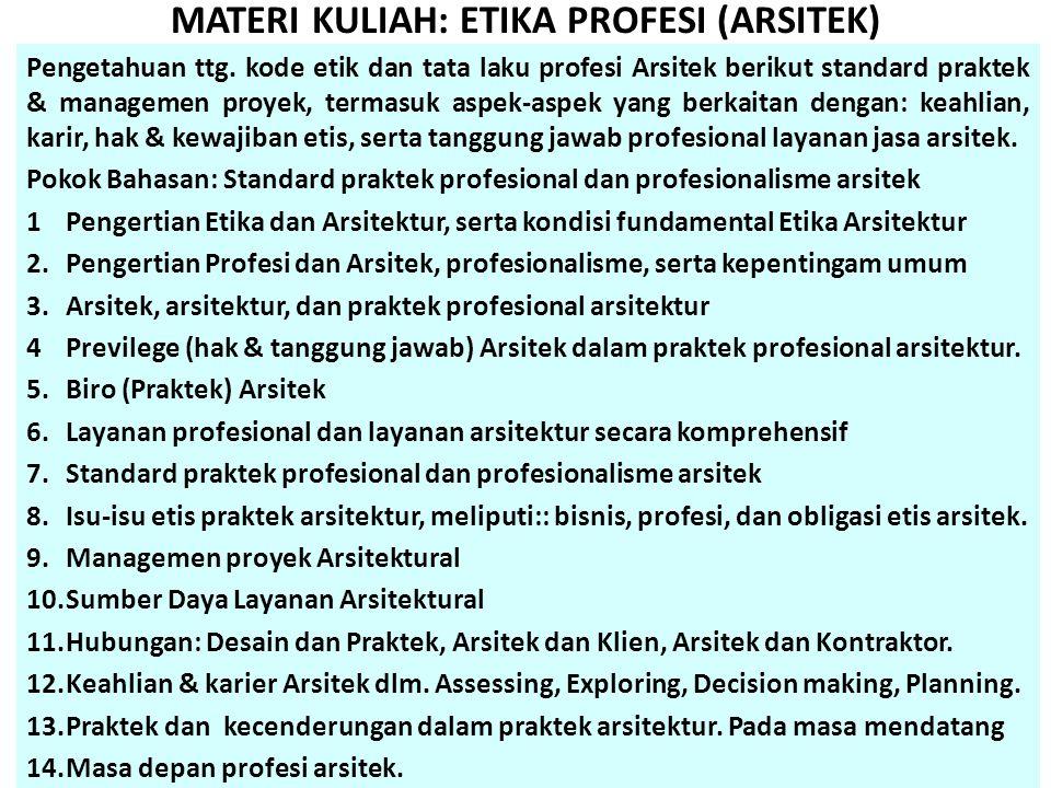MATERI KULIAH: ETIKA PROFESI (ARSITEK)