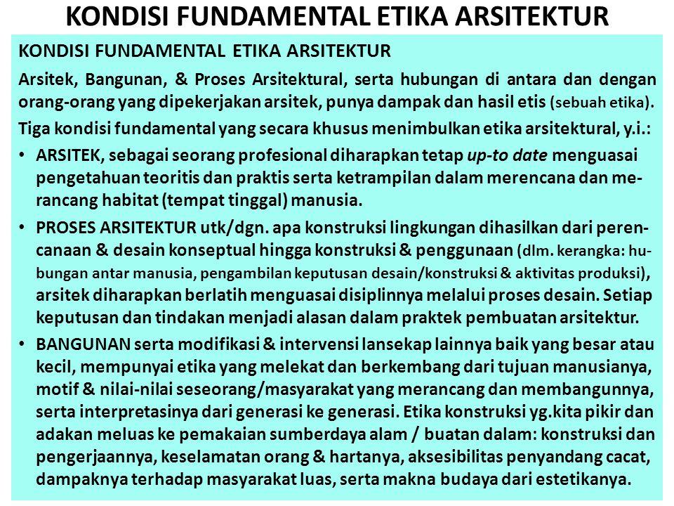 KONDISI FUNDAMENTAL ETIKA ARSITEKTUR