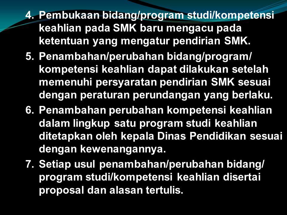 Pembukaan bidang/program studi/kompetensi keahlian pada SMK baru mengacu pada ketentuan yang mengatur pendirian SMK.