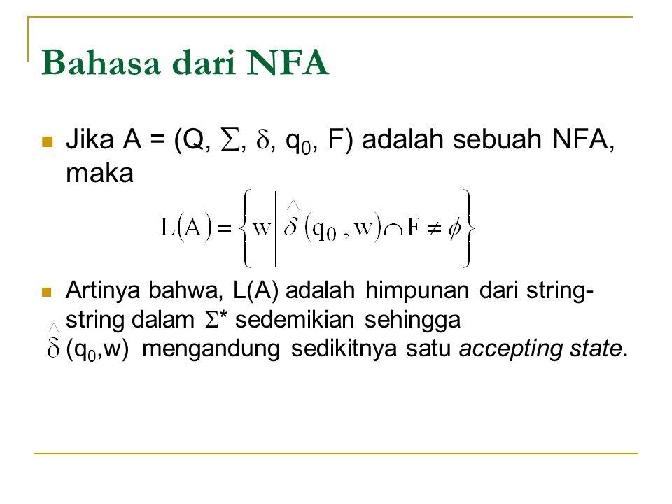 Bahasa dari NFA Jika A = (Q, , , q0, F) adalah sebuah NFA, maka