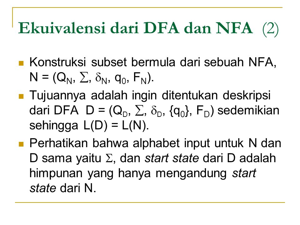 Ekuivalensi dari DFA dan NFA (2)
