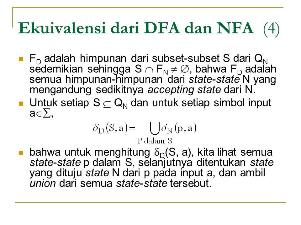 Ekuivalensi dari DFA dan NFA (4)