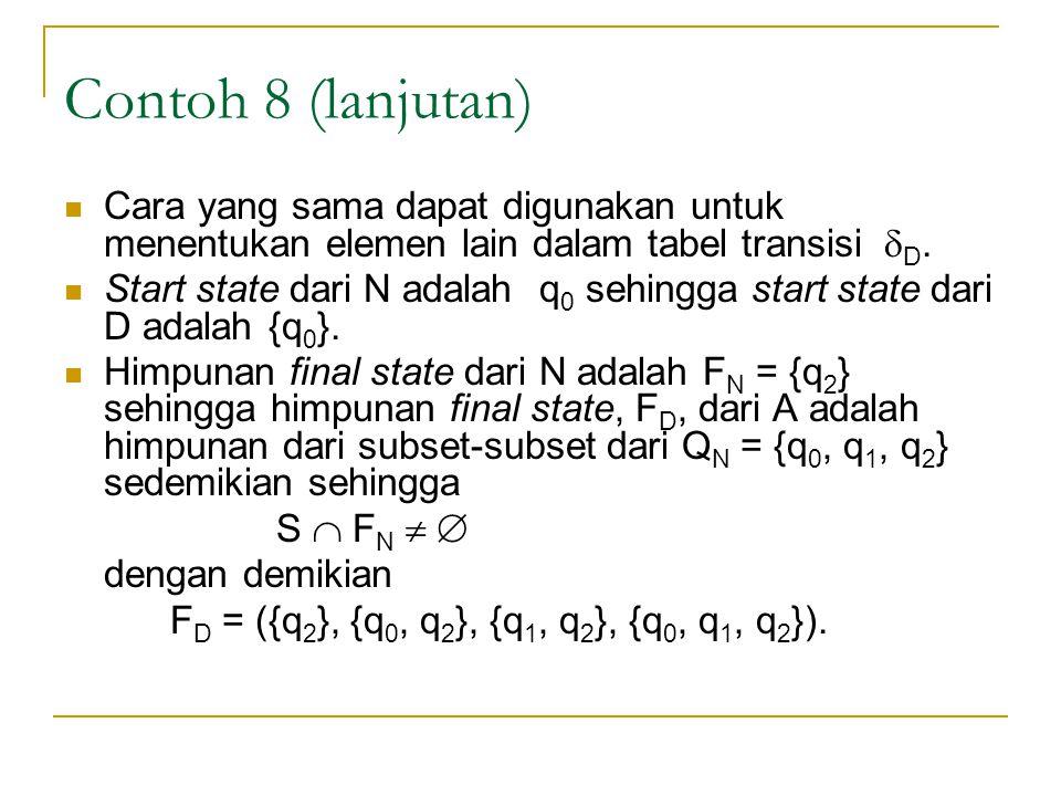 Contoh 8 (lanjutan) Cara yang sama dapat digunakan untuk menentukan elemen lain dalam tabel transisi D.