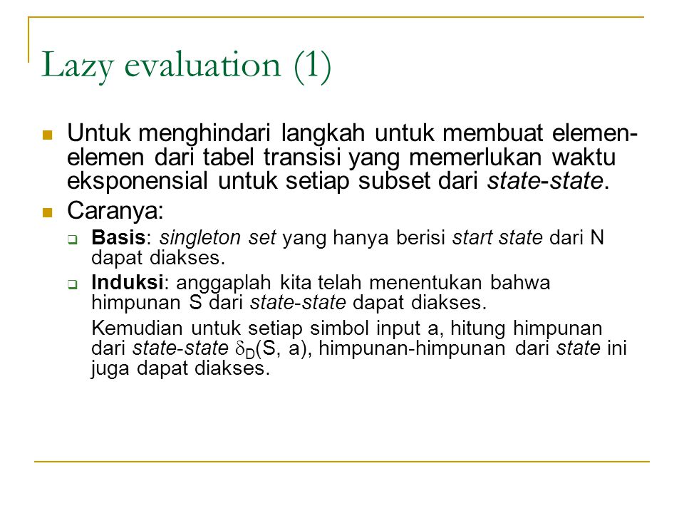 Lazy evaluation (1)