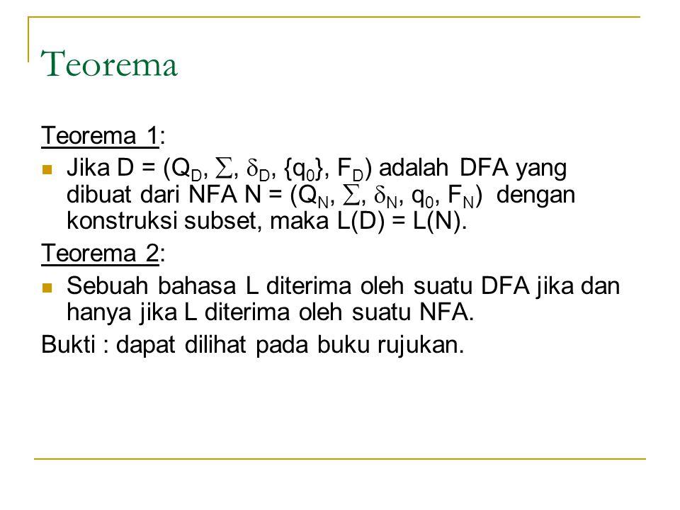 Teorema Teorema 1: