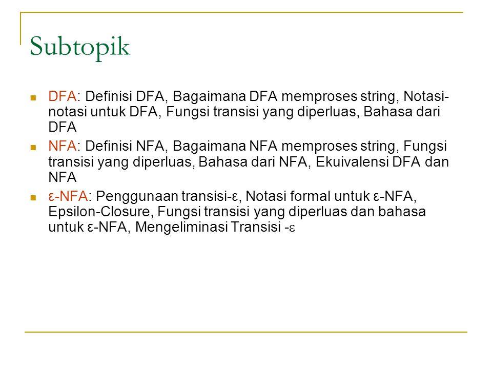 Subtopik DFA: Definisi DFA, Bagaimana DFA memproses string, Notasi-notasi untuk DFA, Fungsi transisi yang diperluas, Bahasa dari DFA.
