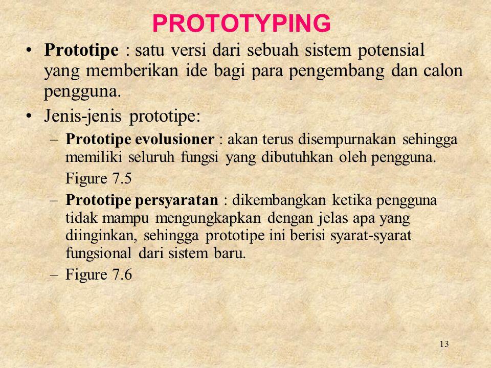 PROTOTYPING Prototipe : satu versi dari sebuah sistem potensial yang memberikan ide bagi para pengembang dan calon pengguna.