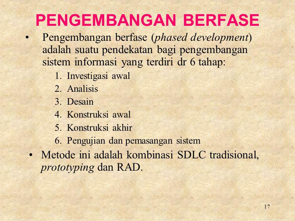 PENGEMBANGAN BERFASE Pengembangan berfase (phased development) adalah suatu pendekatan bagi pengembangan sistem informasi yang terdiri dr 6 tahap: