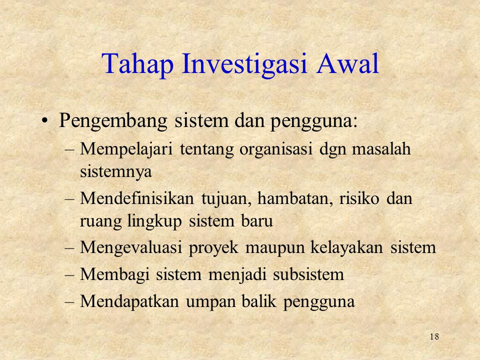 Tahap Investigasi Awal