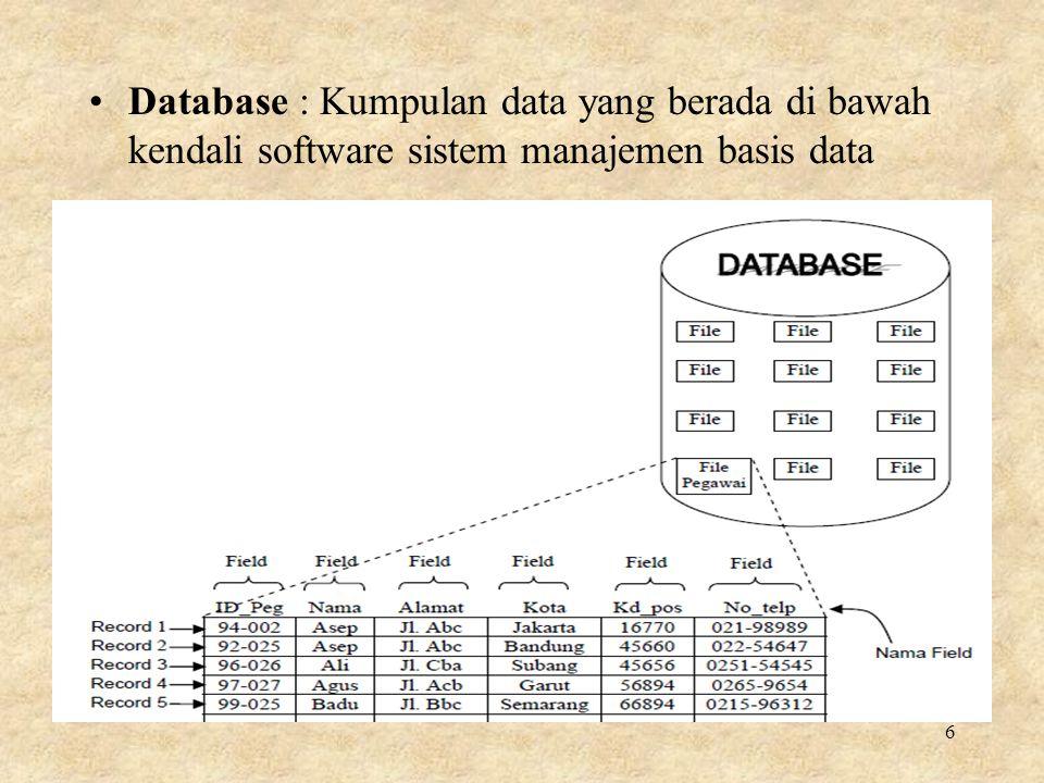 Database : Kumpulan data yang berada di bawah kendali software sistem manajemen basis data