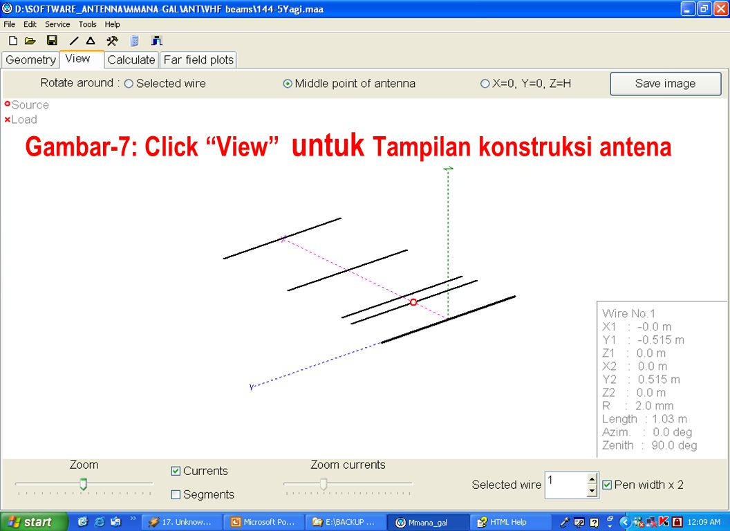 Gambar-7: Click View untuk Tampilan konstruksi antena