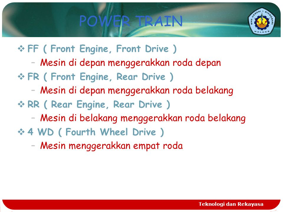 POWER TRAIN FF ( Front Engine, Front Drive )