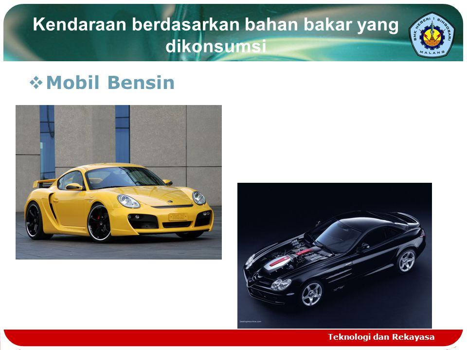 Kendaraan berdasarkan bahan bakar yang dikonsumsi