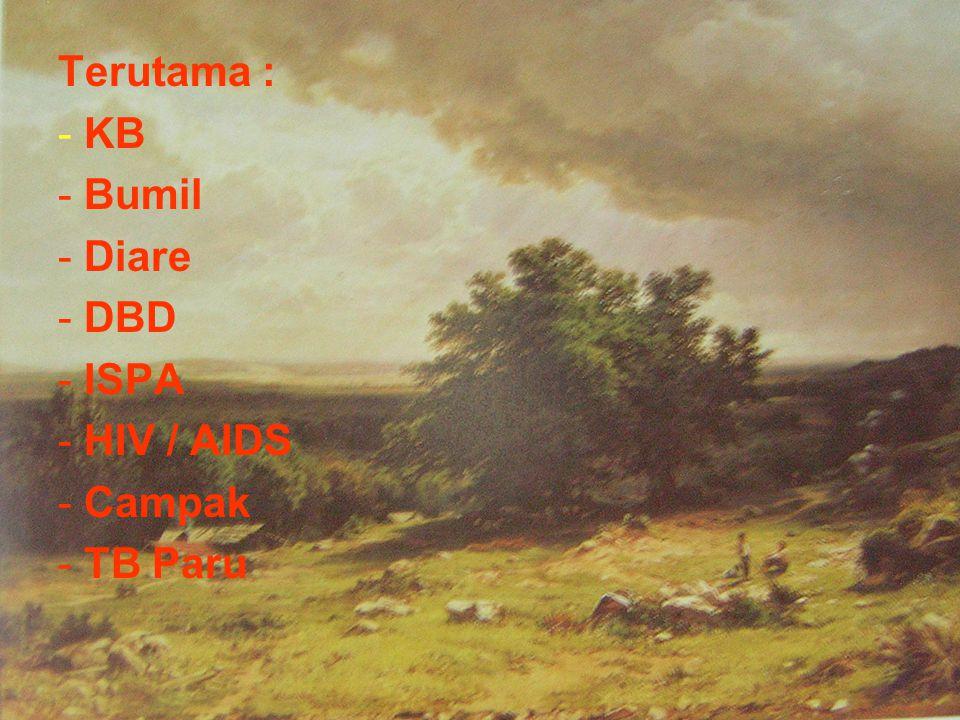 Terutama : KB Bumil Diare DBD ISPA HIV / AIDS Campak TB Paru