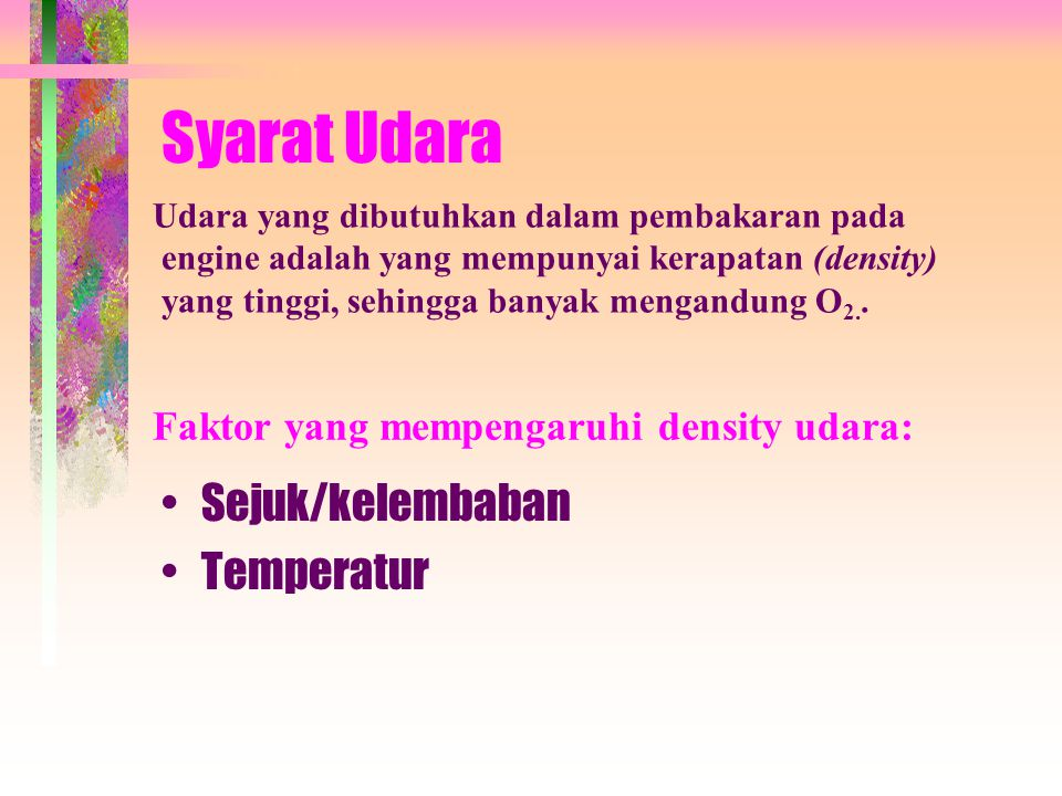 Syarat Udara Sejuk/kelembaban Temperatur