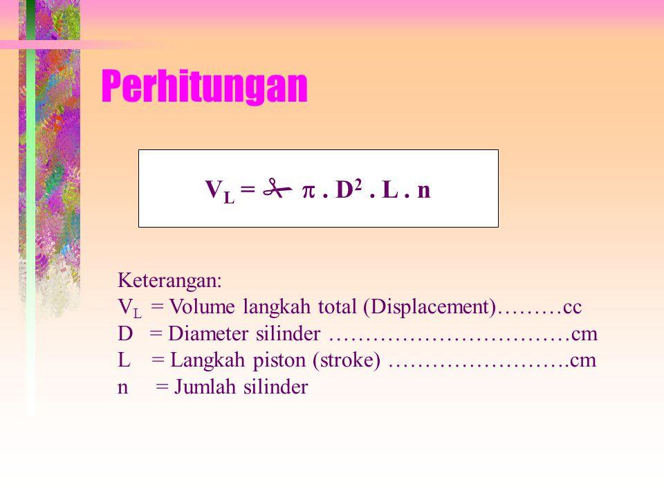 Perhitungan VL =   . D2 . L . n Keterangan:
