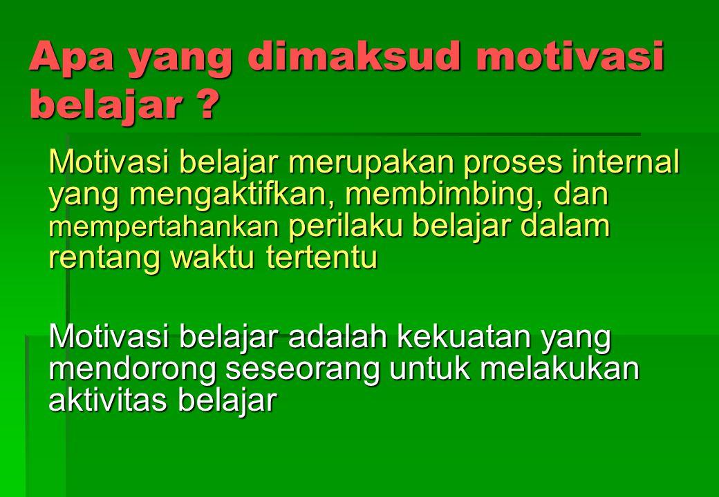 Apa yang dimaksud motivasi belajar