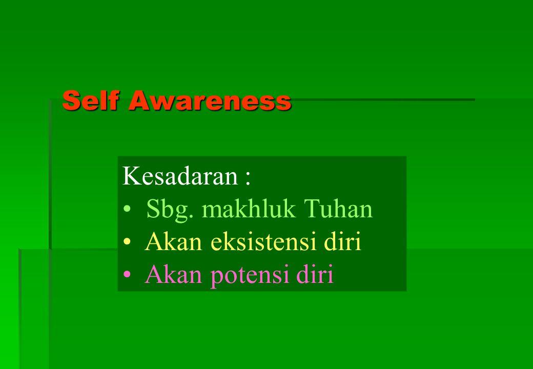 Self Awareness Kesadaran : Sbg. makhluk Tuhan Akan eksistensi diri Akan potensi diri