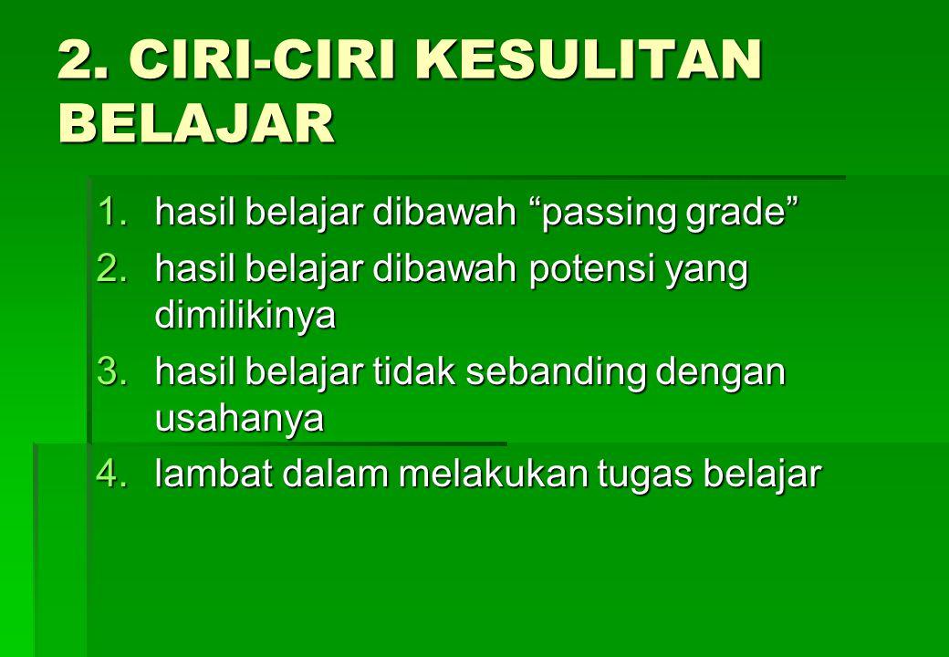 2. CIRI-CIRI KESULITAN BELAJAR