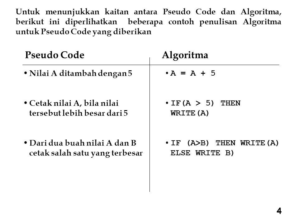 Untuk menunjukkan kaitan antara Pseudo Code dan Algoritma, berikut ini diperlihatkan beberapa contoh penulisan Algoritma untuk Pseudo Code yang diberikan