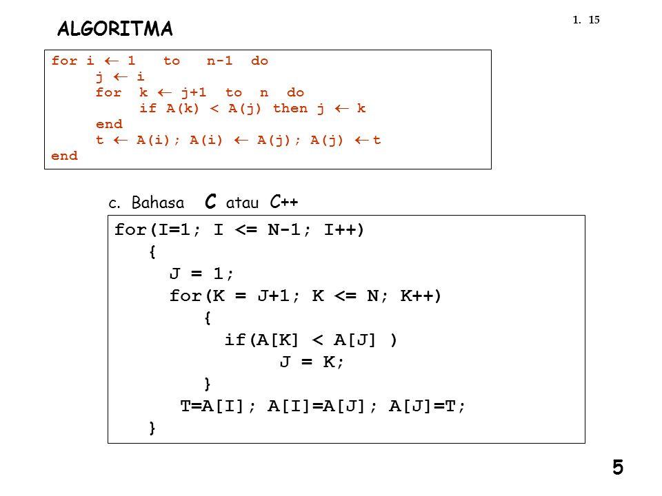 for(I=1; I <= N-1; I++) { J = 1; for(K = J+1; K <= N; K++)