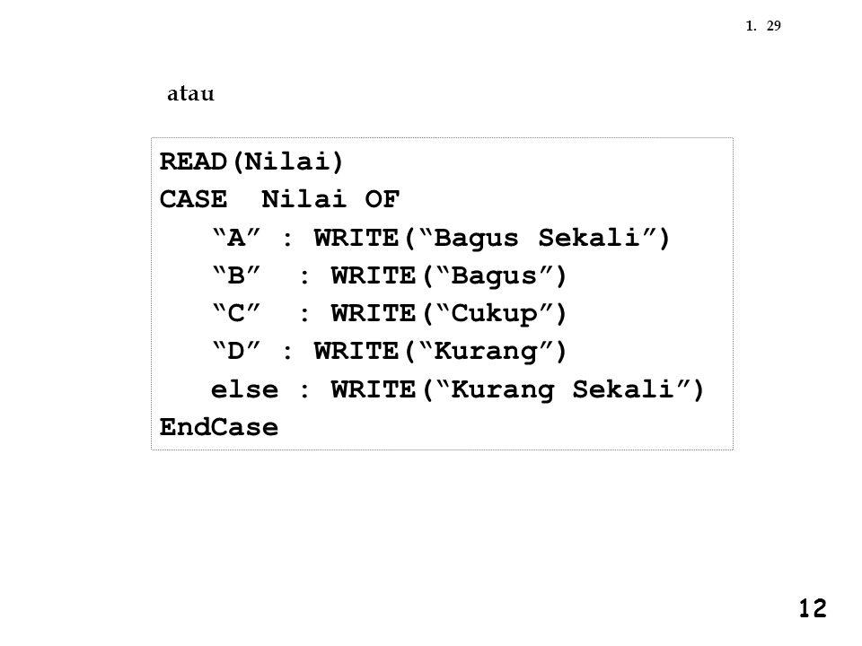 A : WRITE( Bagus Sekali ) B : WRITE( Bagus ) C : WRITE( Cukup )