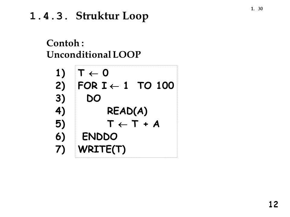 1.4.3. Struktur Loop Contoh : Unconditional LOOP 1) 2) 3) 4) 5) 6) 7)