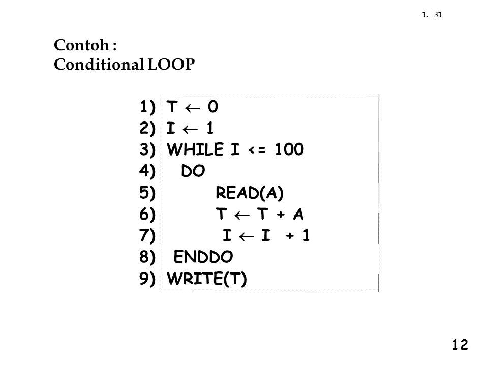 Contoh : Conditional LOOP 1) 2) 3) 4) 5) 6) 7) 8) 9) T ¬ 0 I ¬ 1