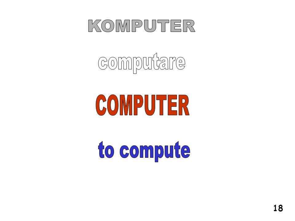 KOMPUTER computare COMPUTER to compute