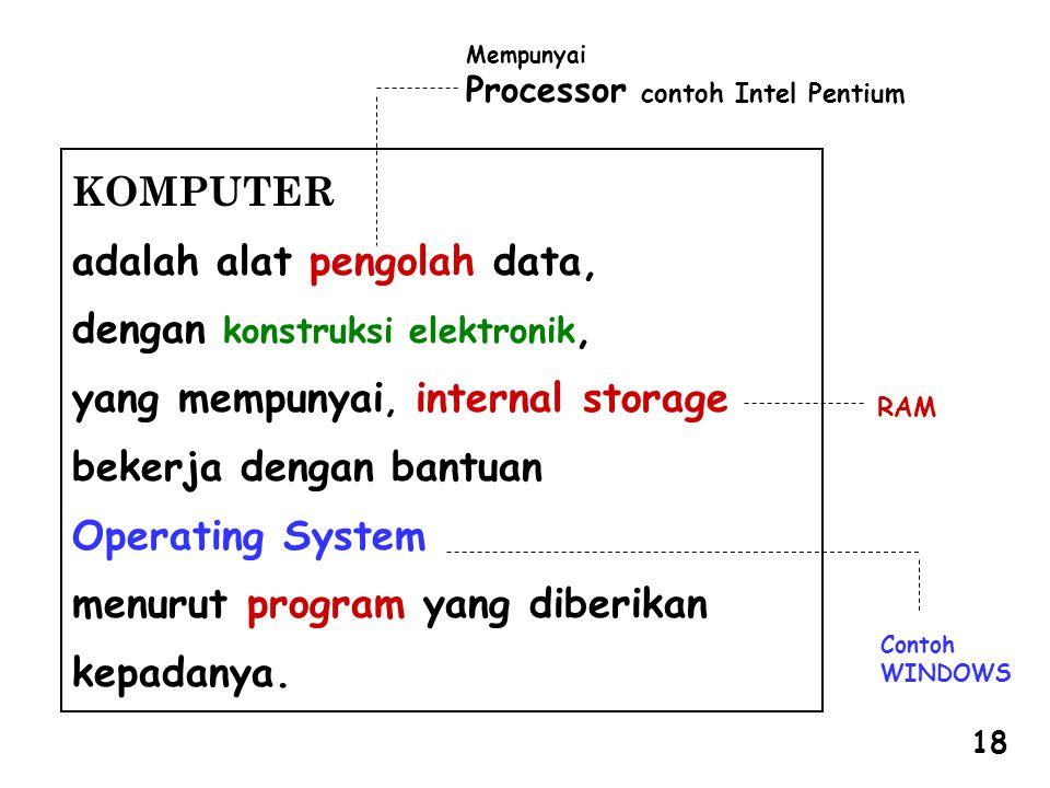 adalah alat pengolah data, dengan konstruksi elektronik,