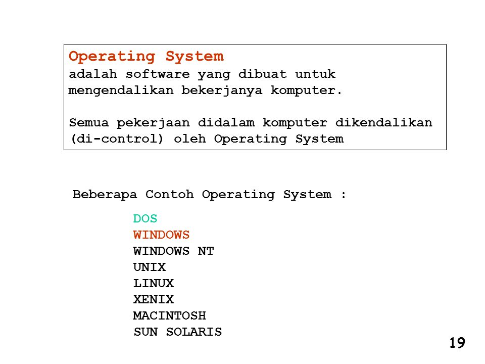 Operating System adalah software yang dibuat untuk