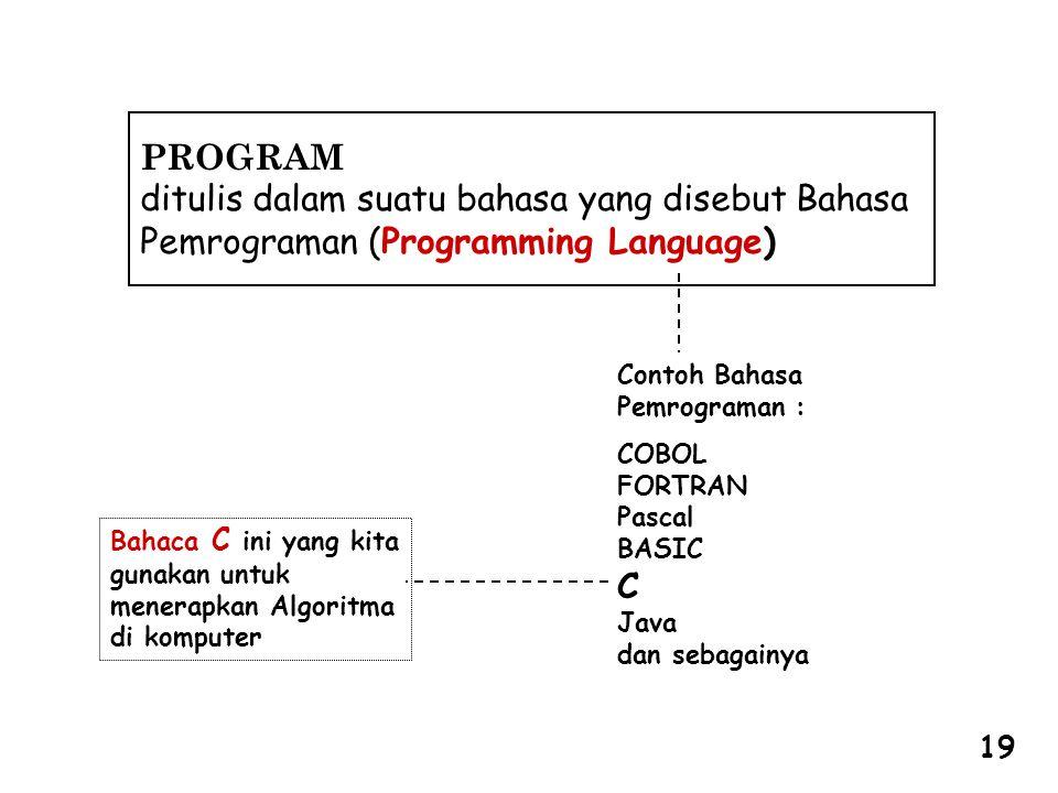 PROGRAM ditulis dalam suatu bahasa yang disebut Bahasa Pemrograman (Programming Language) Contoh Bahasa.