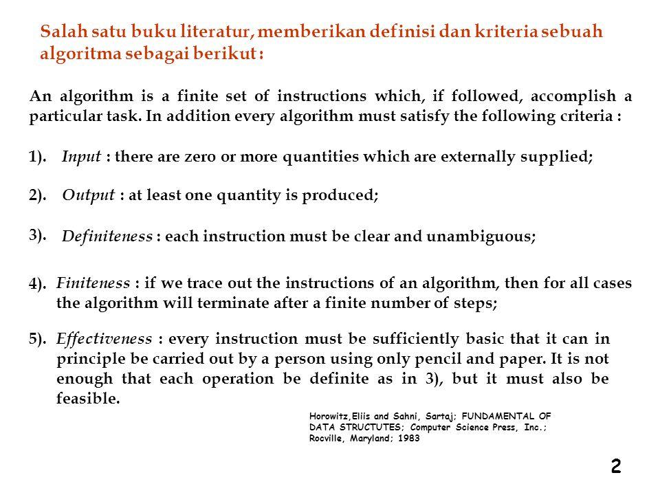 Salah satu buku literatur, memberikan definisi dan kriteria sebuah algoritma sebagai berikut :
