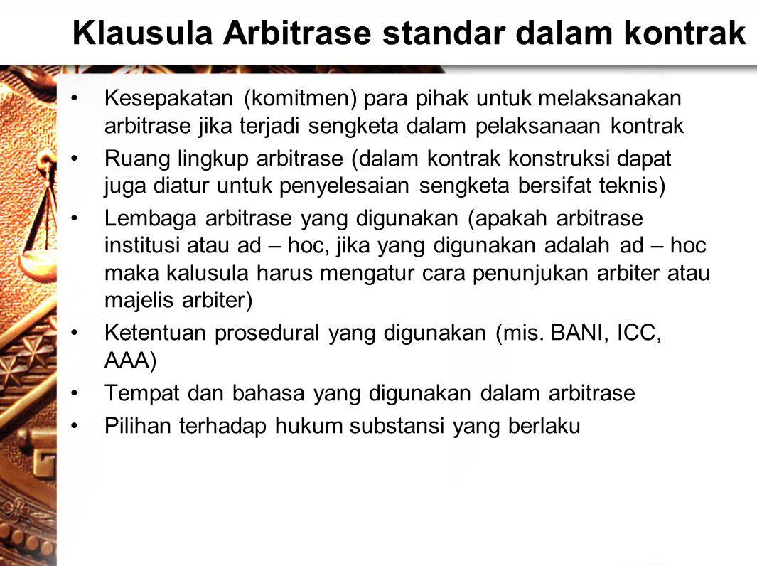 Klausula Arbitrase standar dalam kontrak