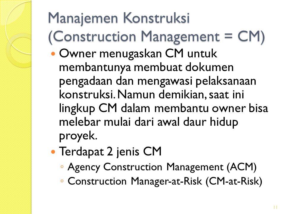 Manajemen Konstruksi (Construction Management = CM)