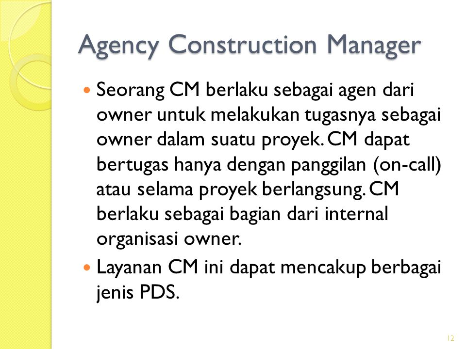 Agency Construction Manager