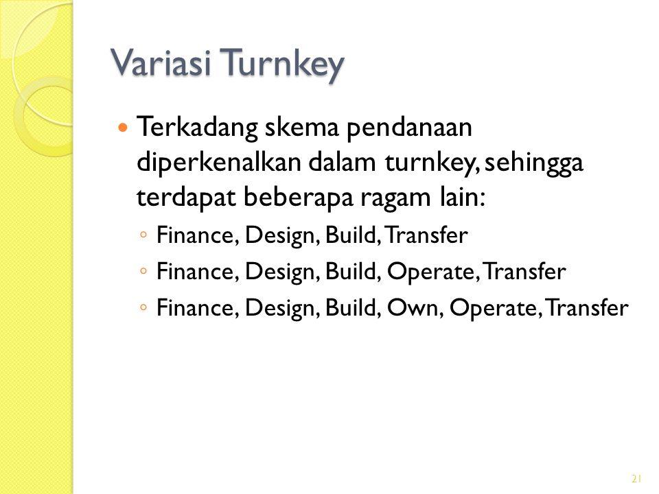 Variasi Turnkey Terkadang skema pendanaan diperkenalkan dalam turnkey, sehingga terdapat beberapa ragam lain: