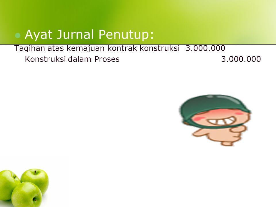 Ayat Jurnal Penutup: Tagihan atas kemajuan kontrak konstruksi 3.000.000.