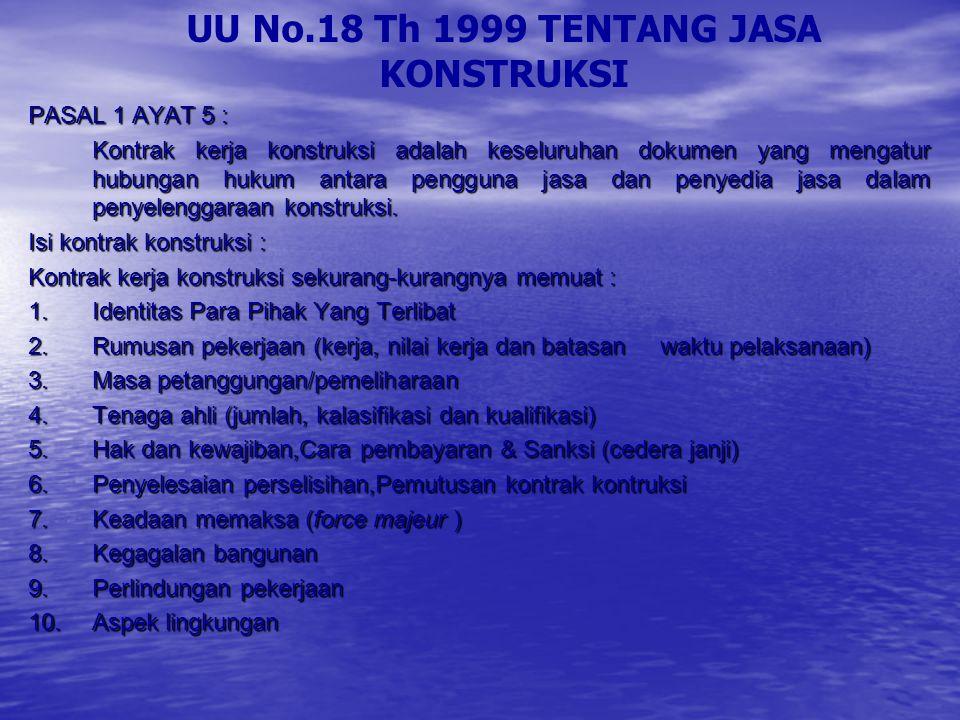 UU No.18 Th 1999 TENTANG JASA KONSTRUKSI